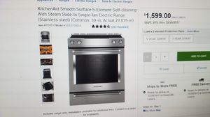 kitchenaid slide in electric 30 stove.range stainless steel New for Sale in Jacksonville, FL