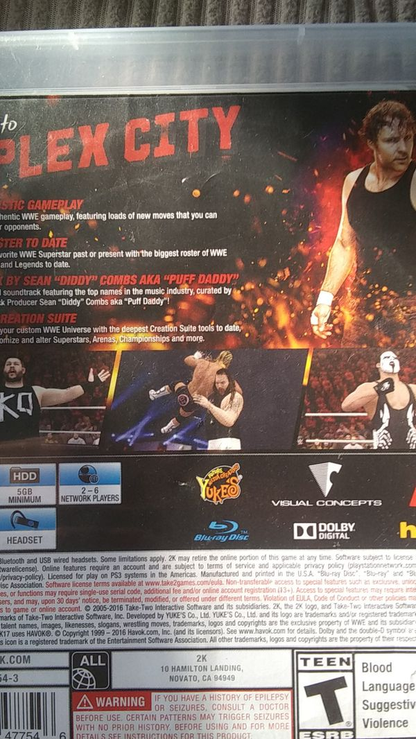 WWE 2K17 PS3 Video Game