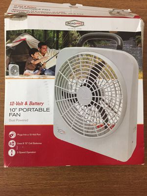 """10"""" portable fan. Dual powered. Battery and 12 volt port for Sale in Cincinnati, OH"""