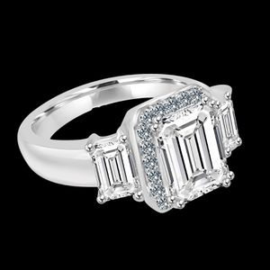 2 CT. Emerald Cut Center with two side baguettes Simulated Diamond - Diamond Veneer Vintage Sterling Silver Ring 635R72227 for Sale in New York, NY
