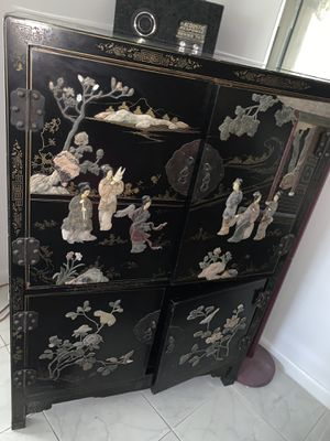 Japanese Black Lacquer Hand-carved and painted for Sale in Deerfield Beach, FL