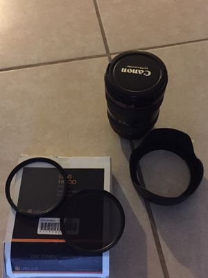 Canon 24-105 mm + 2 UV FILTERS AND 2 Lenses cap for Sale in Miami, FL