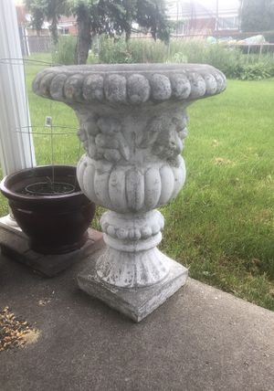 2 Cement Urns for Plants for Sale in Warren, MI