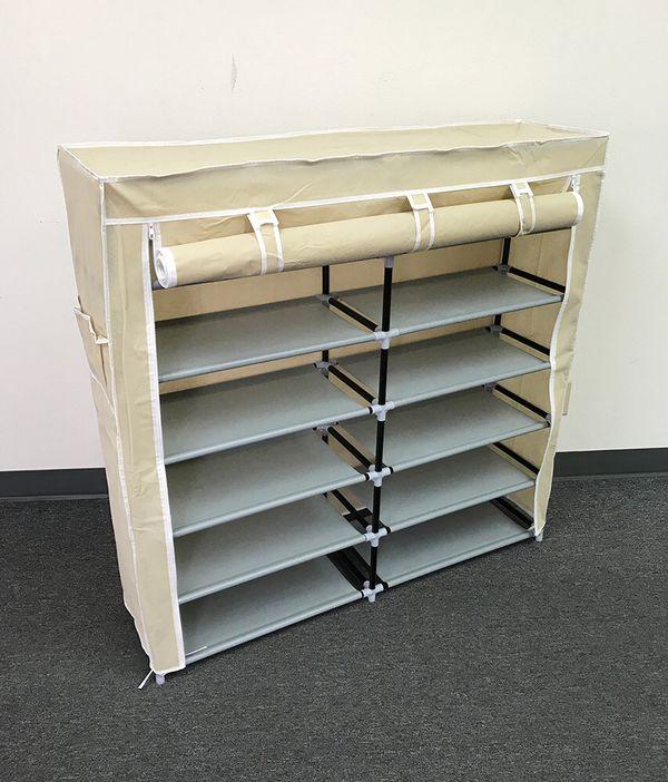 New $25 each 6-Tiers 36 Shoe Rack Closet Fabric Cover Portable Storage Organizer Cabinet 43x12x43""