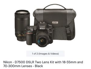 Nikon D7500 DSLR Two Lens Kit with 18-55mm and 70-300mm Lenses- black for Sale in Staten Island, NY
