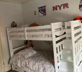 White Bunk Bed with Mattresses for Sale in Brooklyn,  NY