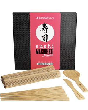 💰2⃣️8⃣️ ❤️Brand New Brand New In Box Sushi Making Kit Deluxe with Chopsticks - 100% Bamboo - Includes 2 Rolling Mats, Rice Spreader, Rice Paddle, for Sale in New Castle, PA