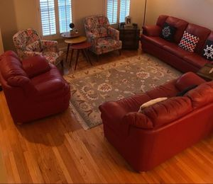Sofa Set, Geniune Leather (Sofa, Love Seat and Chair; set of 3) for Sale in Vienna, VA
