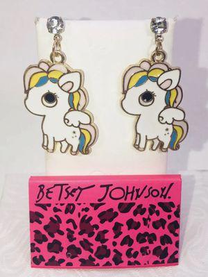 "Betsey Johnson ""MY LITTLE PONY PEGASUS!"" rainbow 🌈 large pony Pegasus stud post earrings NEW! for Sale in Carrollton, TX"