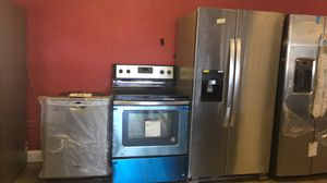 Package Deal 4pcs Brand new scratch and dent Stainless Steel Kitchen Appliances Fridge, Range, microwave and dishwasher with 1 year warranty free del for Sale in New Port Richey, FL