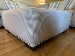 New Beige Gingham Patterned Ottoman for Sale in McLean, VA