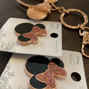 Disney Loungefly Rose Gold Minnie Mouse Pins and Key Chain for Sale in Fullerton, CA