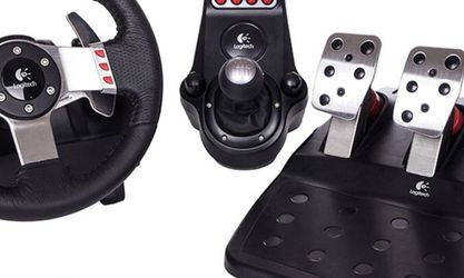 Logitech G27 Steering Wheel, With Pedals And Stick Shift for Sale in Pleasanton,  CA