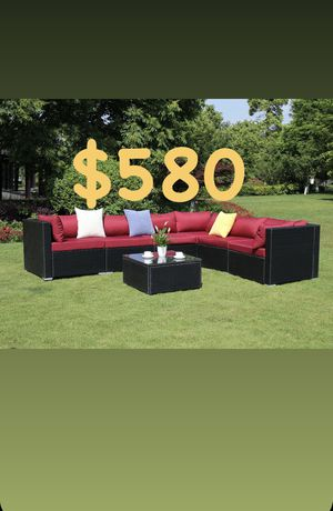7 Piece BLK Rattan Sectional Set with burgundy or white Cushions. Outdoor Furniture Complete Patio BLACK Wicker Garden Sofa Couch Set, Full. for Sale in Rialto, CA