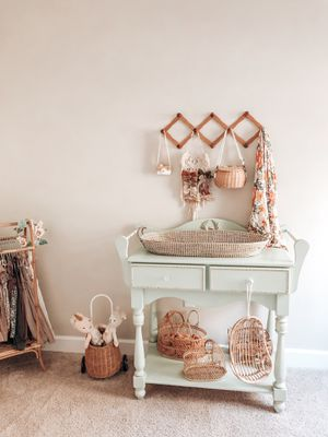 Custom pastel boutique pedestal baby nursery changing table for Sale in Lake Wales, FL
