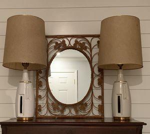 Pair Ceramic Geometric Mid Century Lamps Shades Vintage Retro for Sale in Siler City, NC