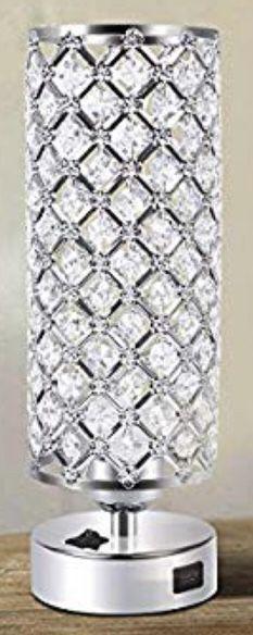 """ACAXIN ELEGANT BEDSIDE LAMP with CRYSTAL SHADE"" and USB PORT ..... USES STANDARD E26/E27 BULBS, INCANDESCENT BULBS, HALOGEN BULBS and LED BULBS will for Sale in Boynton Beach, FL"