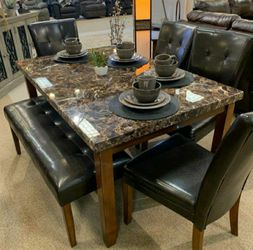 Lacey Medium Brown Faux Marble Dining Room Set 📍 Table and Chairs for Sale in Round Rock,  TX