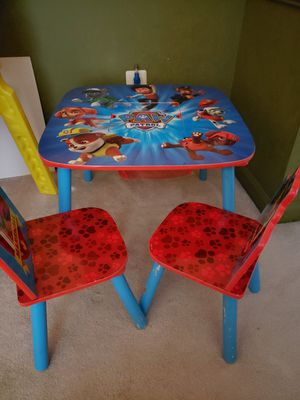 Kids paw patrol table with 2 chairs and paw patrol rug for Sale in Manassas, VA