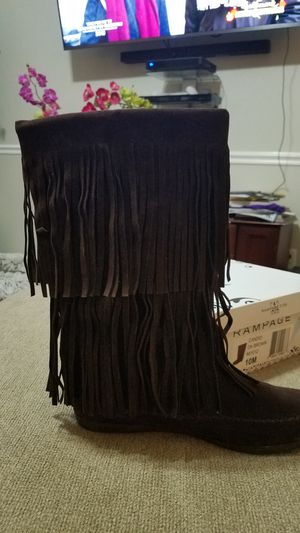 Dark brown boots w fringe for Sale in Gastonia, NC