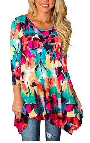 Brand New Large Size Womens 3/4 Sleeves Round Neck Floral Tunic Tops Flowy Loose Fitting Shirt for Sale in Hayward, CA