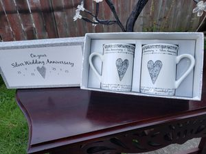 Juliana Fine Porcelain On Your Silver Wedding Anniversary 2 coffee cups set New for Sale in Everett, WA