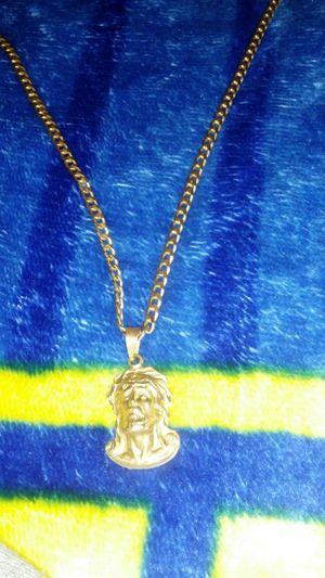 18k gold plated jesus piece and 16k gold plated chain for Sale in Las Vegas, NV