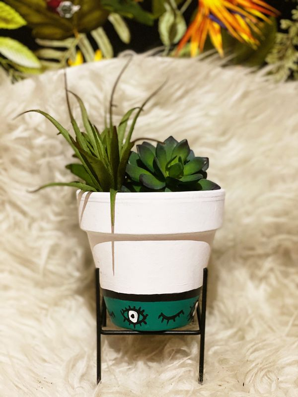 """AVAILABLE Teal Eye 4"""" Hand Painted Pot"""