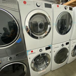 LG ! FRONT LOAD WASHER & DRYER WITH BLK DOOR & STEAM for Sale in Anaheim, CA