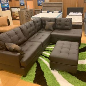 Brand New Espresso Faux Leather Sectional Sofa Couch + Ottoman for Sale in Arlington, VA