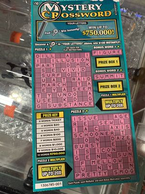 SCRATCHERS - Roll of $10 Mystery Crossword (1404) for Sale in Los Angeles, CA