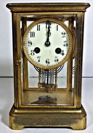 Antique Brass Carriage Clock with Glass Medaille D'Argent Vincenti & Cie French for Sale in Oviedo, FL