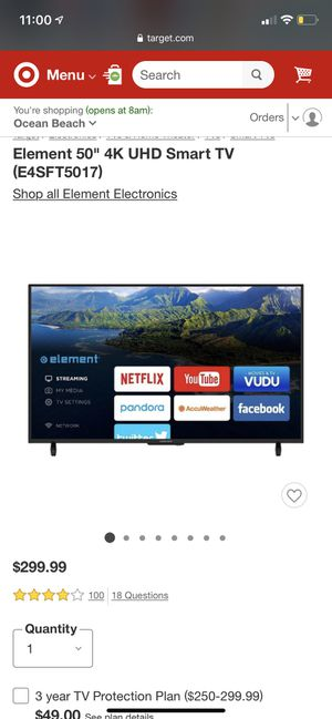 "Element 50"" 4K Smart TV! for Sale in San Diego, CA"