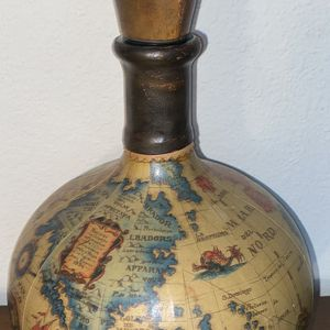 Vintage Italy Leather Wrapped Decanter Wine Bottle Old World Map Globe for Sale in Kalamazoo, MI