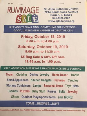 Huge Church Rummage Sale - this Friday & Saturday- Oct. 18 & 19, 2019 for Sale in Downers Grove, IL