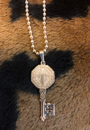 St. Benedict sterling Catholic religious key charm with sterling ball chain. for Sale in Bristol, PA