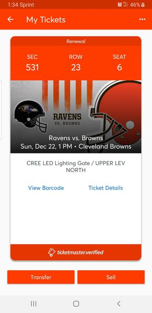 Buy now if we when win todays game against the ravens/even keep it a close game ticket prices will go up Ravens vs browns single game ticket only for Sale in Parma Heights, OH