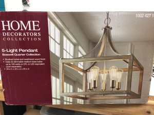 5-Light Brushed Nickel Chandelier - Gray Wood Accents for Sale in Tempe, AZ