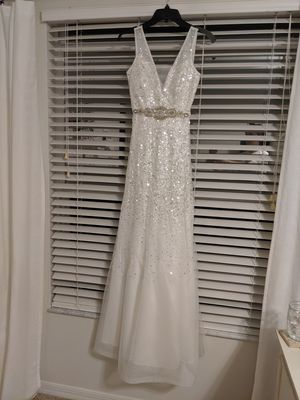 New with tags never worn long white dress from macys for Sale in Orlando, FL