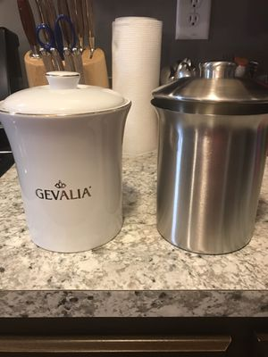 (2) Kitchen Canisters the Gevalia is ceramic and the other is metal for Sale in Garner, NC