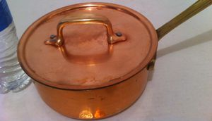 "Vintage Metal Copper and Brass Pot, Pan, with Lid, 15"" Long and 7"" x 3"" Pot Size, Kitchen Decor, Hanging Display, Shelf Display, This Can Be Shined Up for Sale in El Cajon, CA"