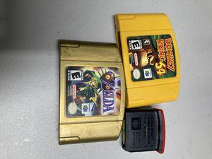 Nintendo 64 games donkey Kong 64 expansion pak legend of Zelda( majora's mask cracked case) for Sale in Coral Gables, FL