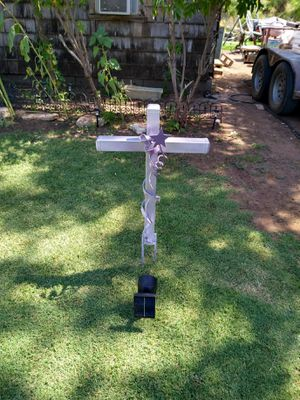 Garden cross, sculpture, with solar light for Sale in Merkel, TX