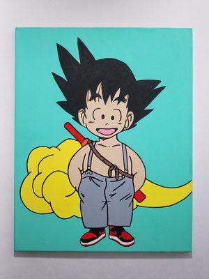 Dragon ball z kid goku jordan 1 bred painting for Sale in Santa Monica, CA