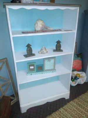 Wood bookcase - chalk painted white & blue for Sale in Clearwater, FL