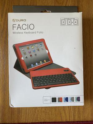 Aduro Facio Wireless Keyboard Folio for IPad 2, 3 or 4 for Sale in Farmington Hills, MI