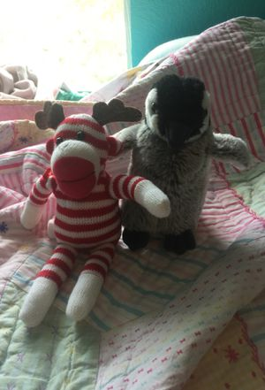 Sock monkey, and penguin stuffed animals for Sale in Austin, TX