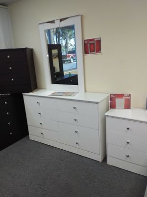 Premium White dresser with mirror and nightstand for Sale in Santa Monica, CA