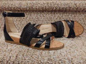 NEW Women's Size 7.5 NINE WEST Sandals [Retail $106] Adjustable Ankle Strap Black Leather Shoes for Sale in Woodbridge, VA