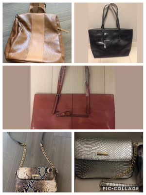 Leather backpack, brown & black shiny faux leather totes, and snake print and metallic faux leather Crossbody purses for Sale in Washington, DC